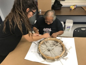 Native drum making workshop at Indian Health Board of Minneapolis