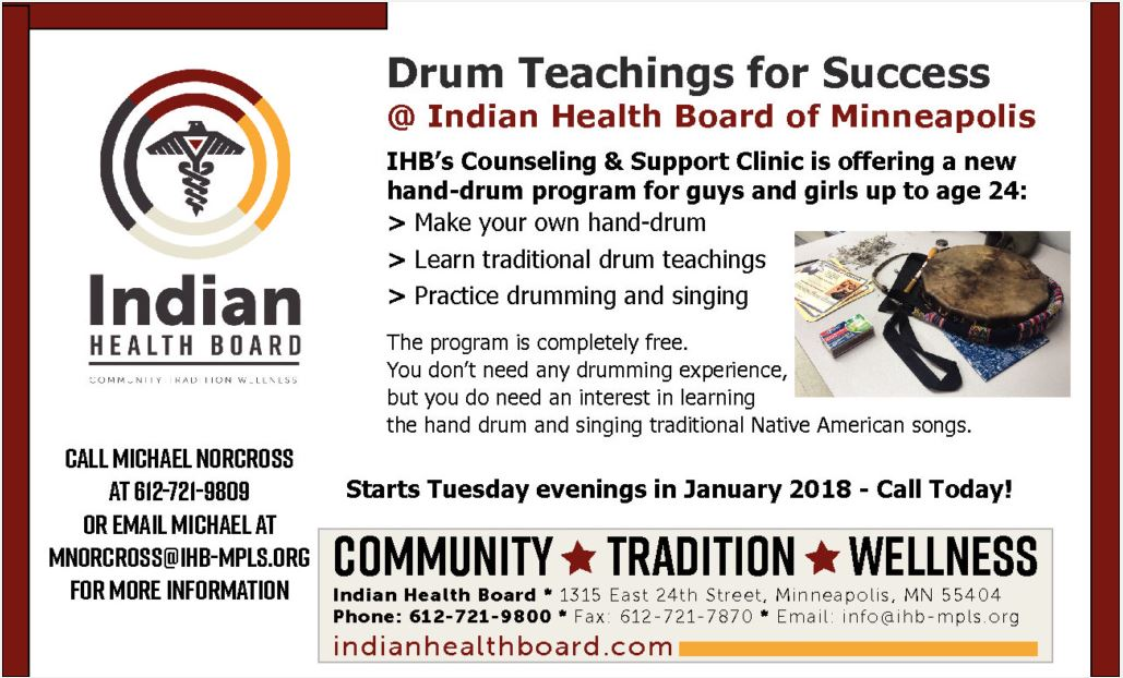 Drumming Program for the Native American Community at Indian Health Board